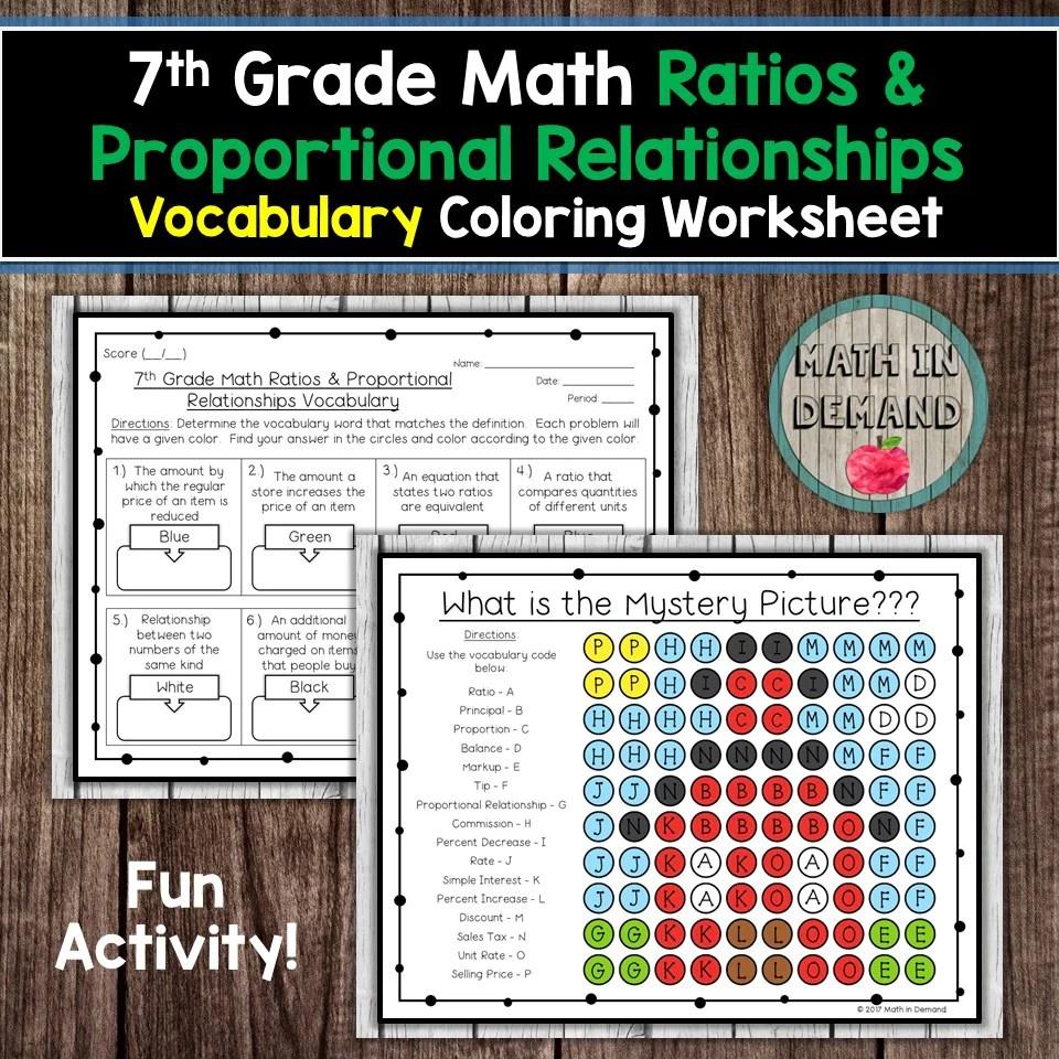 7th Grade Math Ratios \u0026 Proportional Relationships Vocabulary Coloring -  Math in Demand [ 960 x 960 Pixel ]