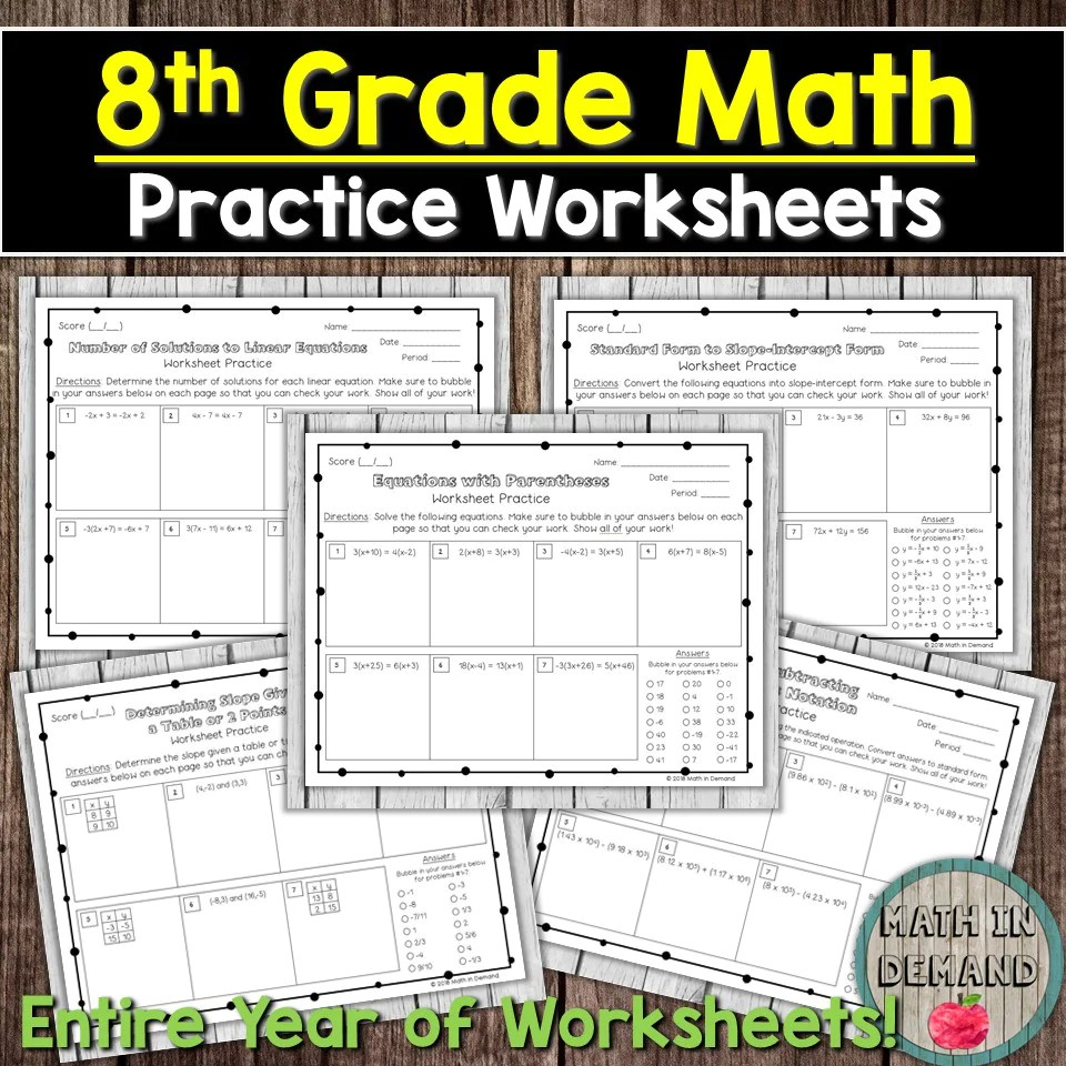 small resolution of 8th Grade Math Worksheets - Math in Demand