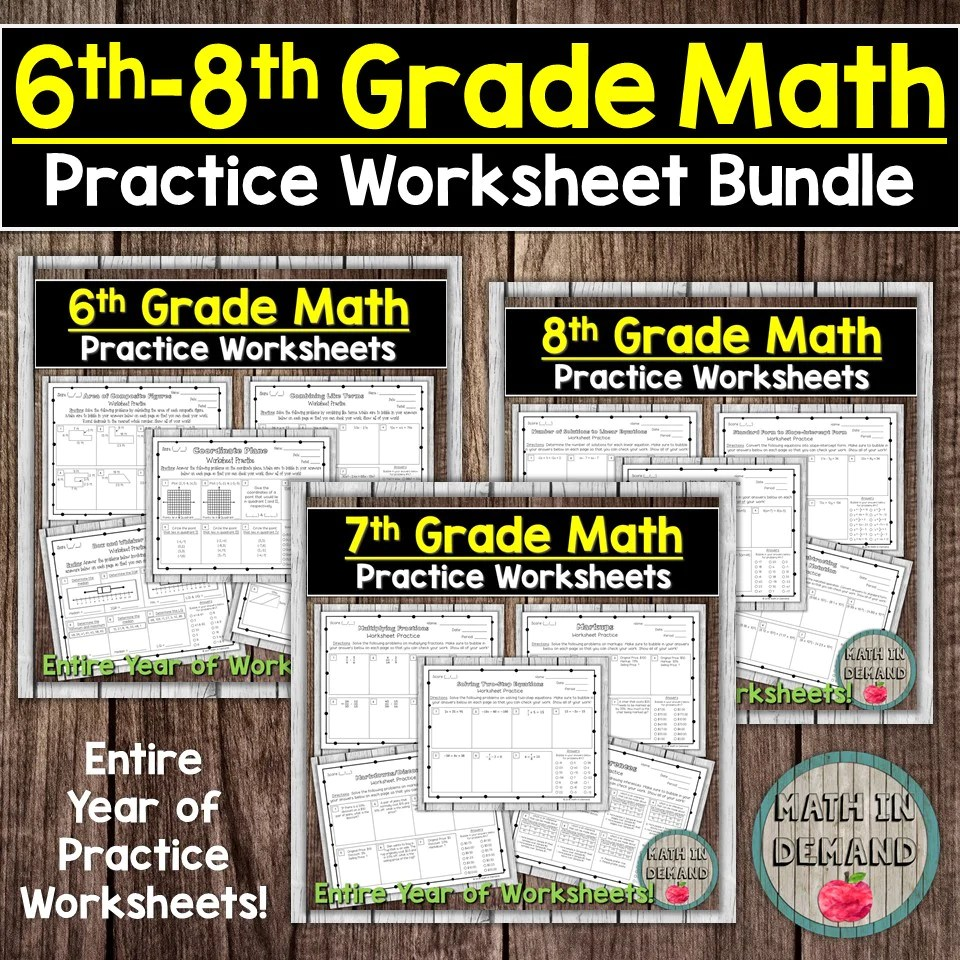 medium resolution of Math Practice Worksheets Bundle - Math in Demand