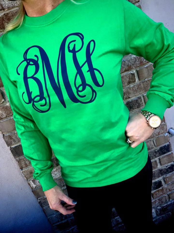 GREEN WITH ENVY Monogram Long Sleeve Shirt Kelly Green