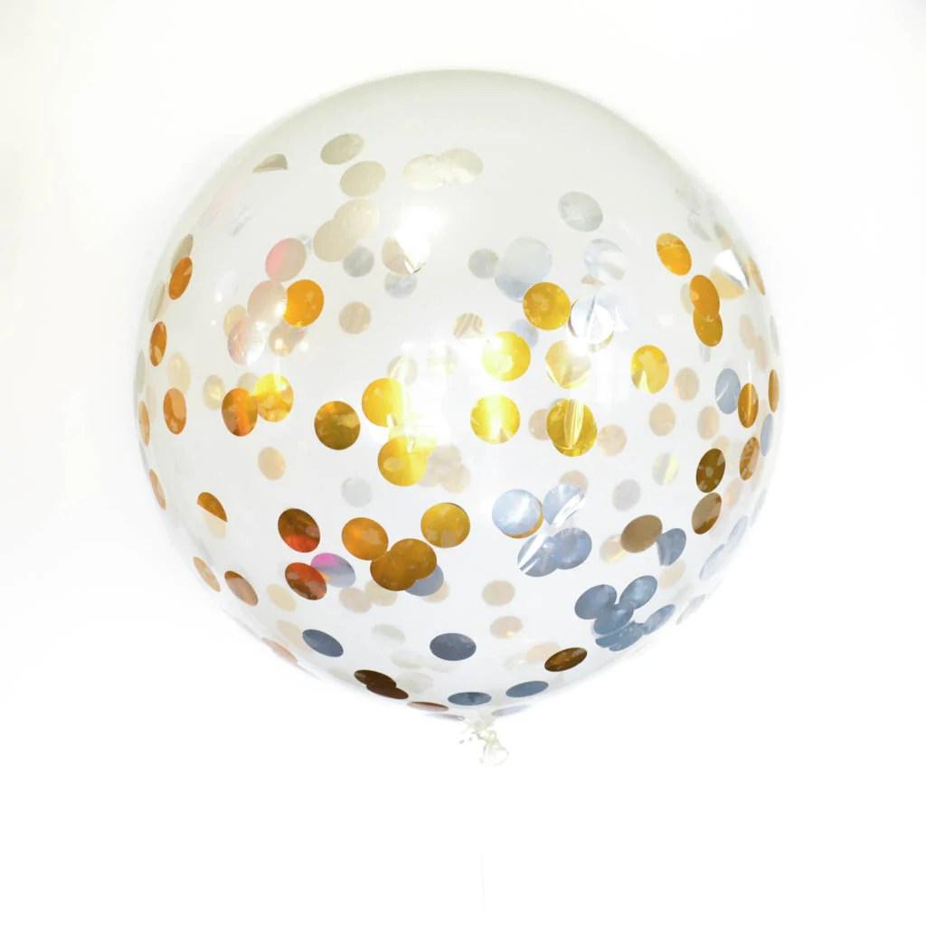 Gold And Silver Confetti Balloon