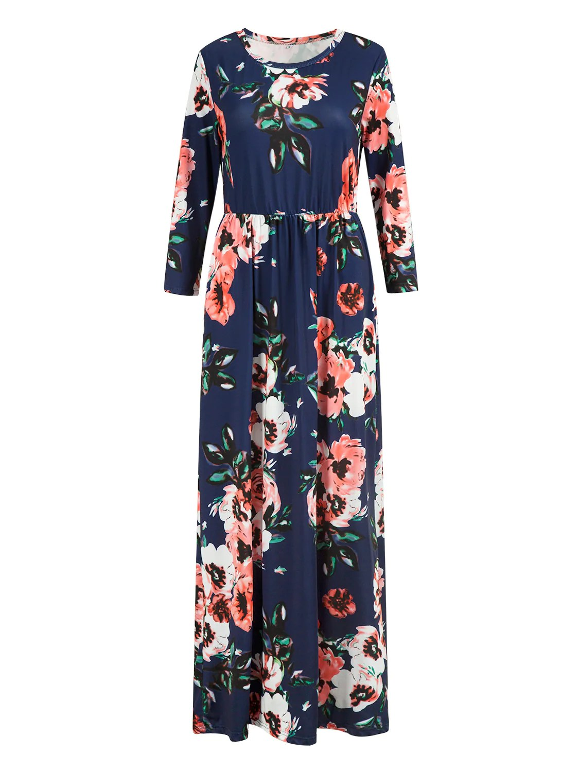 Long Navy Floral Maxi Dress with Sleeves