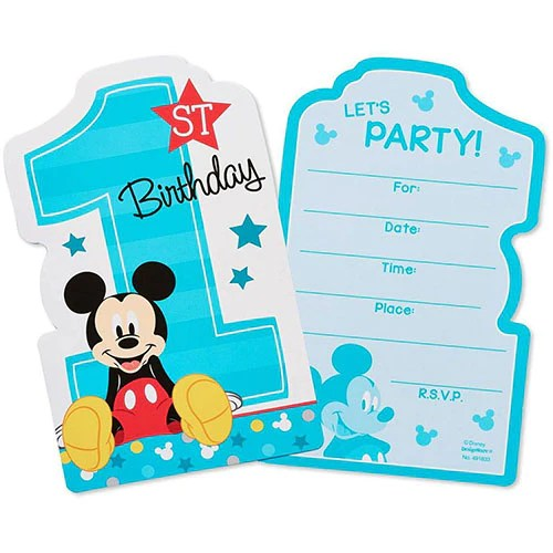 mickey mouse 1st birthday 8 invitation cards