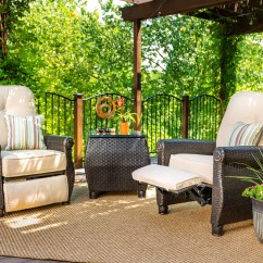 Reclining Patio Chairs And Table Chair Covers East Yorkshire Breckenridge Tan 3 Pc Furniture Set Two Recliners Side Piece Natural