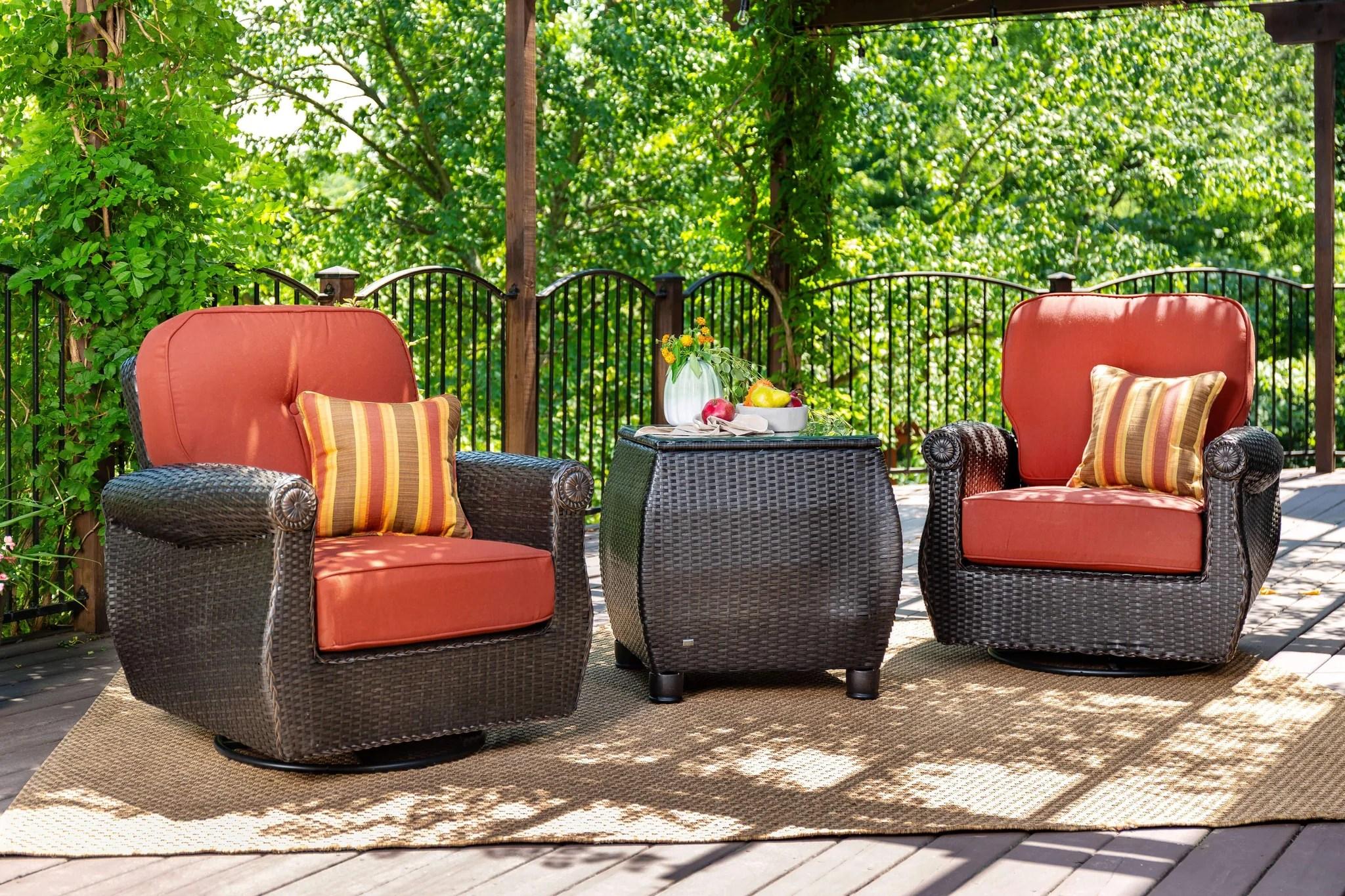 Breckenridge Red 3 Pc Patio Furniture Set 2 Swivel