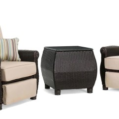 Reclining Patio Chairs And Table Very Cheap Chair Covers Breckenridge Tan 3 Pc Furniture Set Two Recliners Side Piece Natural