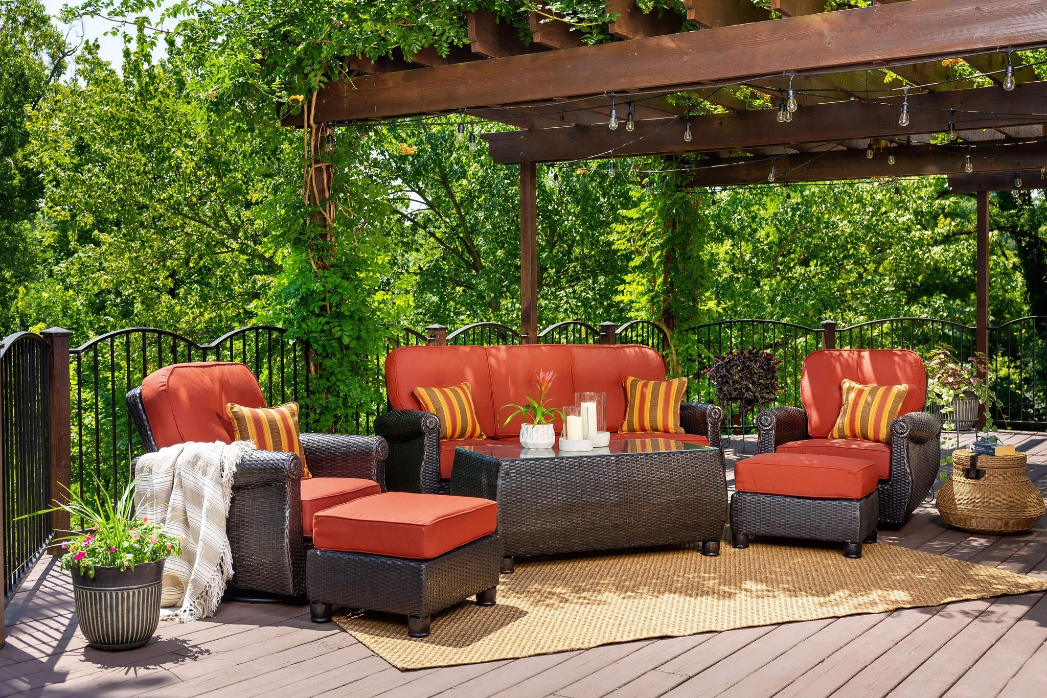 Breckenridge Red 3 Pc Patio Furniture Set 2 Swivel