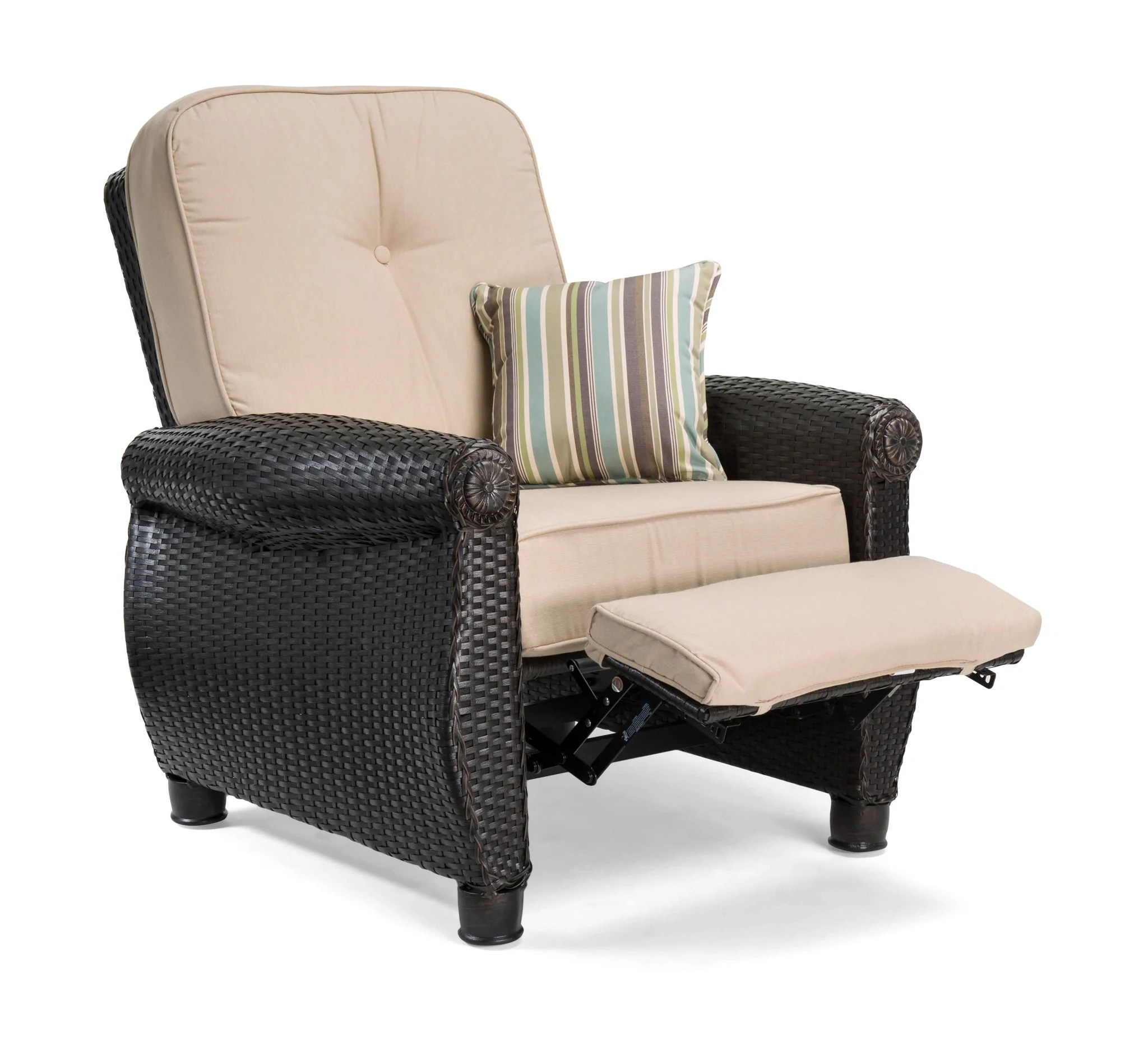 reclining patio chairs and table white spandex chair covers breckenridge tan 3 pc furniture set two recliners