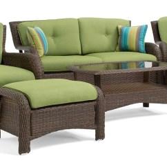 Green Resin Patio Chairs Gravity Chair Walmart Sawyer 6pc Wicker Furniture Conversation Set