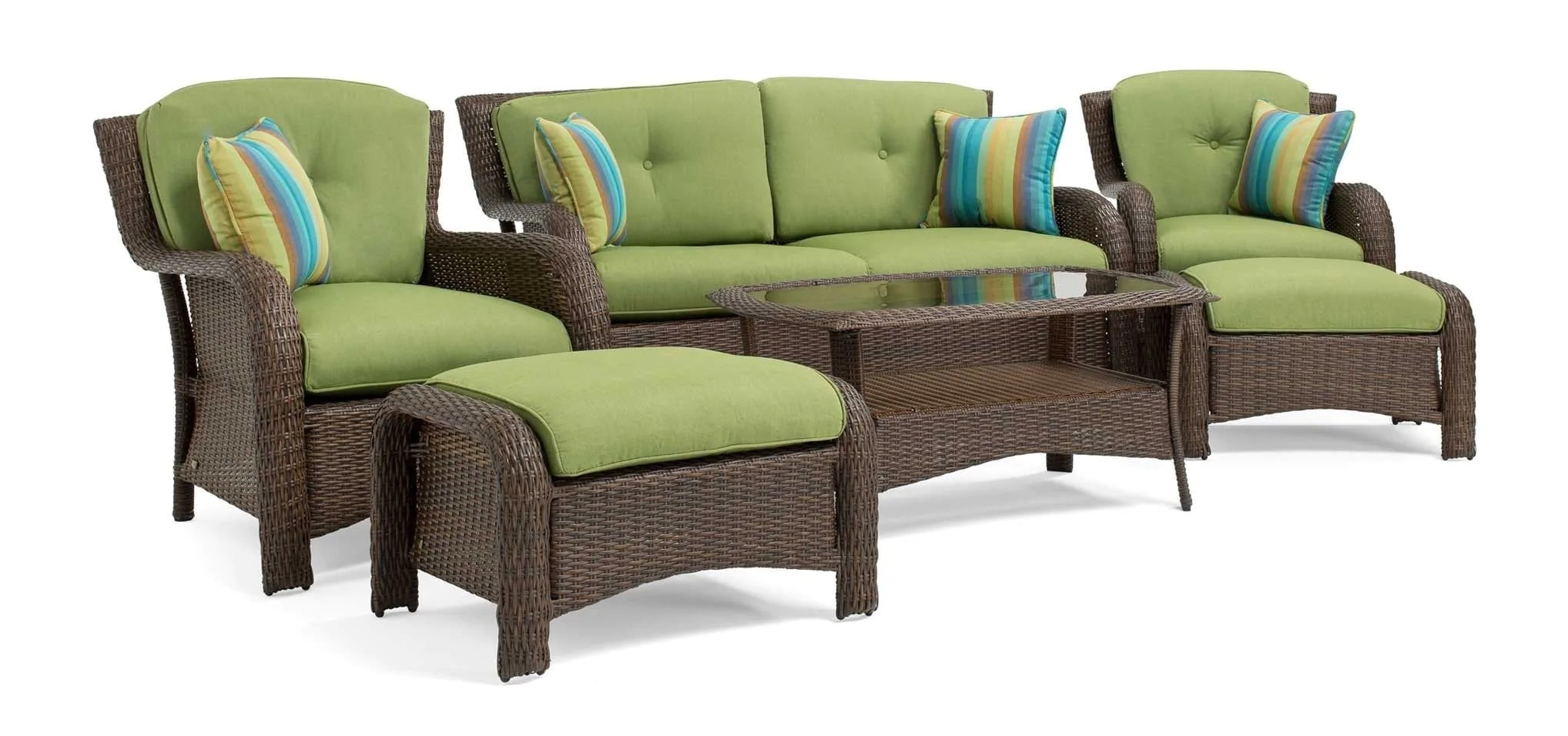 Green Patio Chairs Sawyer 6pc Resin Wicker Patio Furniture Conversation Set