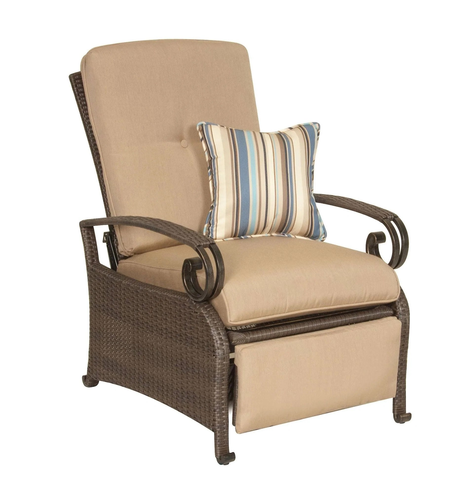 reclining patio chairs and table backwash for sale lake como combo two recliners side khaki