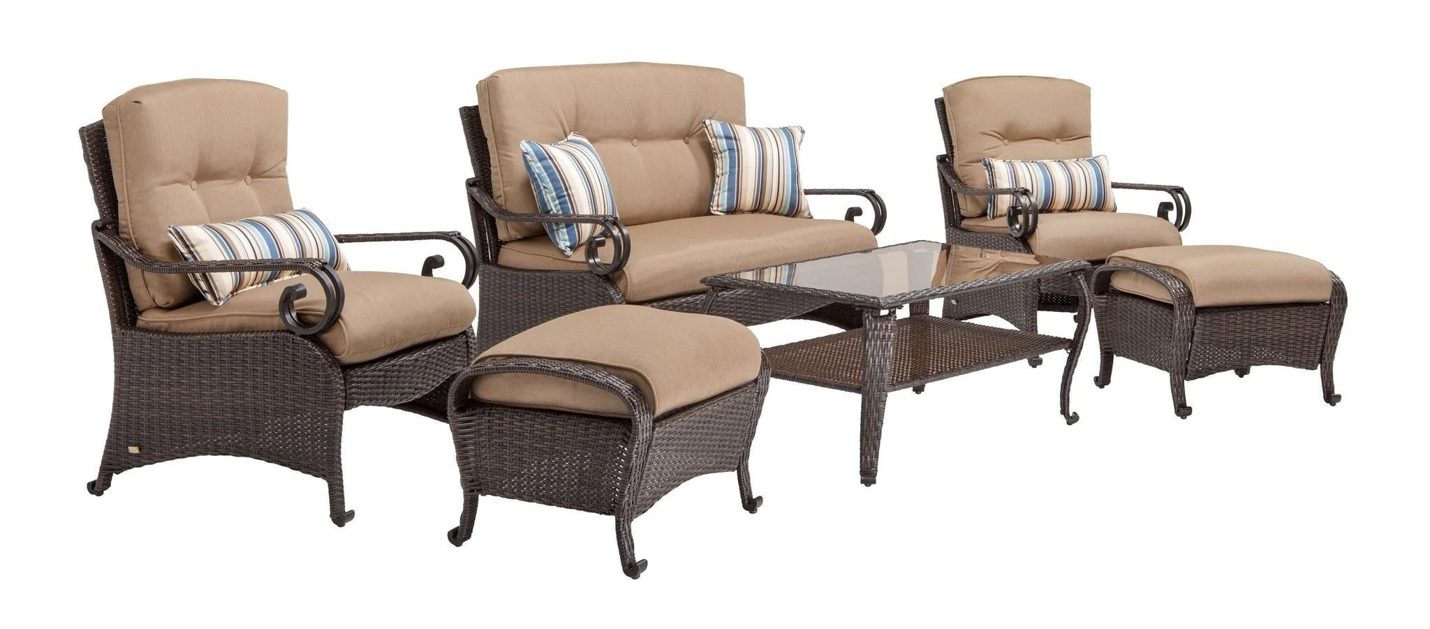 Deep Seating Patio Chairs Lake Como Deep Seating Wicker Patio Furniture Set Khaki