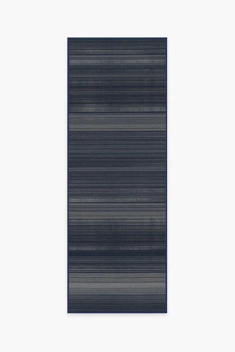Linear Striped Navy Rug   Washable Rug   Ruggable