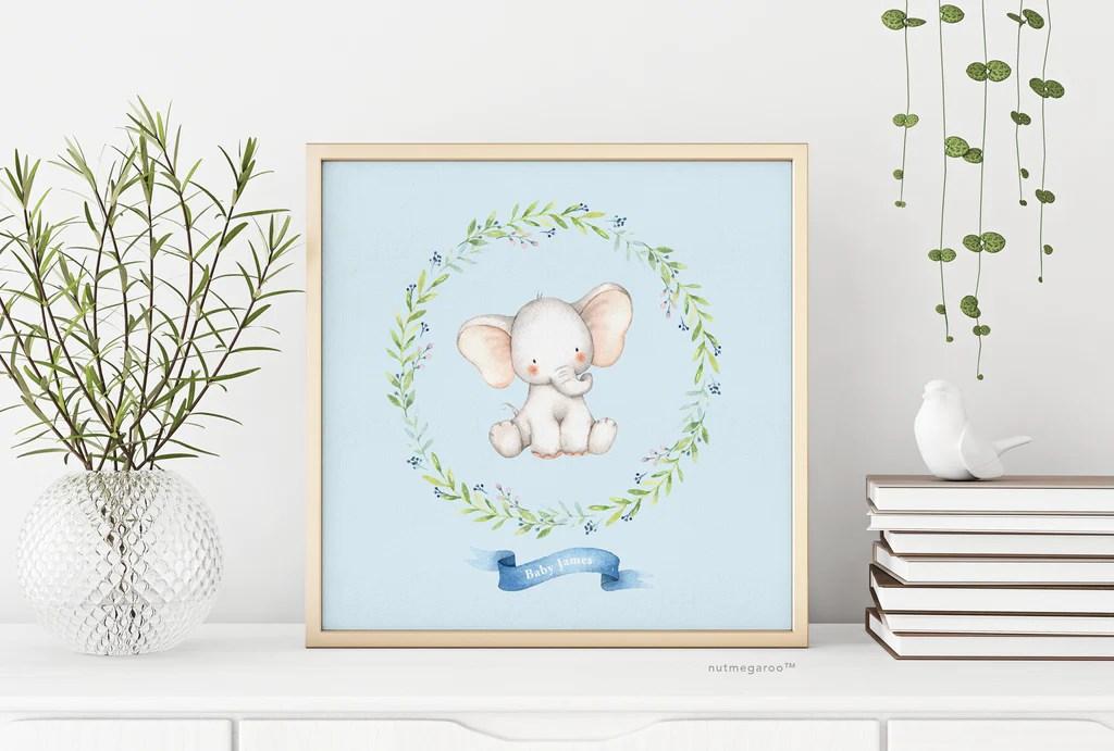 elephant nursery art personalized