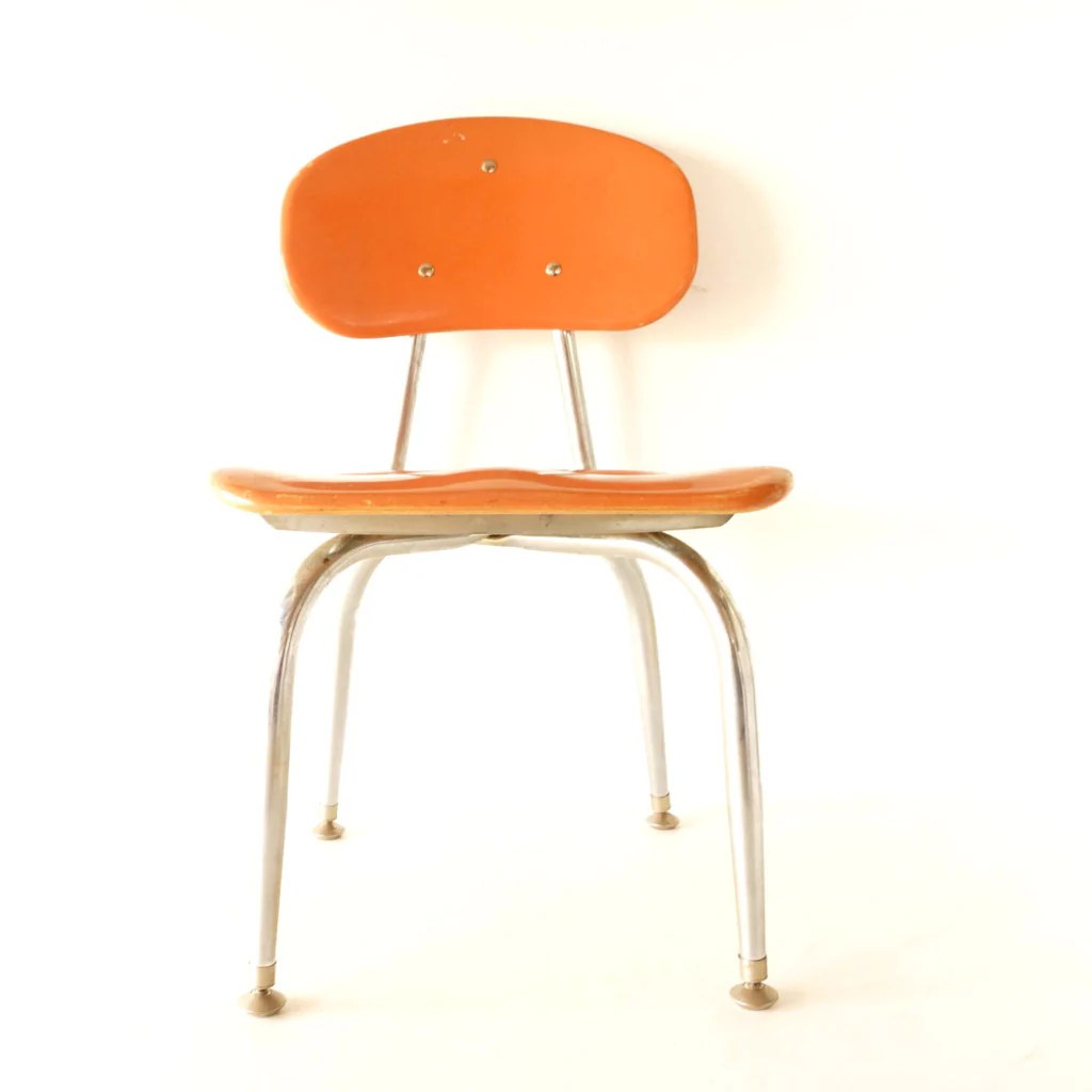Vintage School Chairs Vintage School Chair Chrome And Orange Composite C F Church Corex C 1950s N3