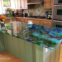 Epoxy Resin Kitchen Countertops Glass Subway Tile Malachite Island | Julian