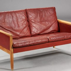 Red Leather Two Seater Sofa Oval Set Hans Olsen Mostly Danish Furniture Ottawa