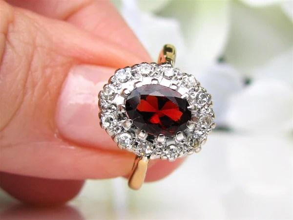 Vintage British Garnet Diamond Halo Ring 1 21ct Garnet Alternative Eng Lady Rose Vintage Jewels