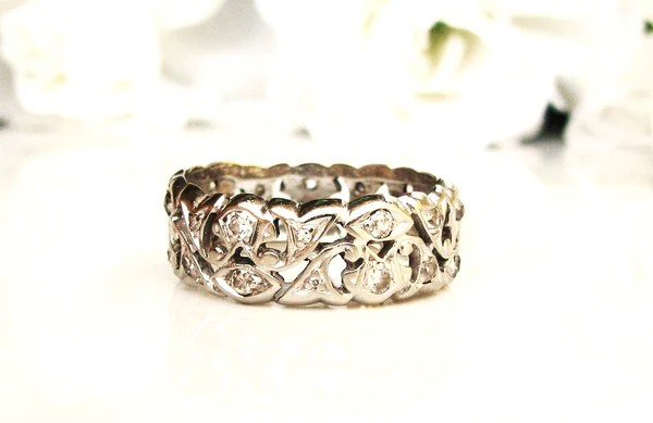 Antique Wide Diamond Eternity Wedding Band 14K White Gold