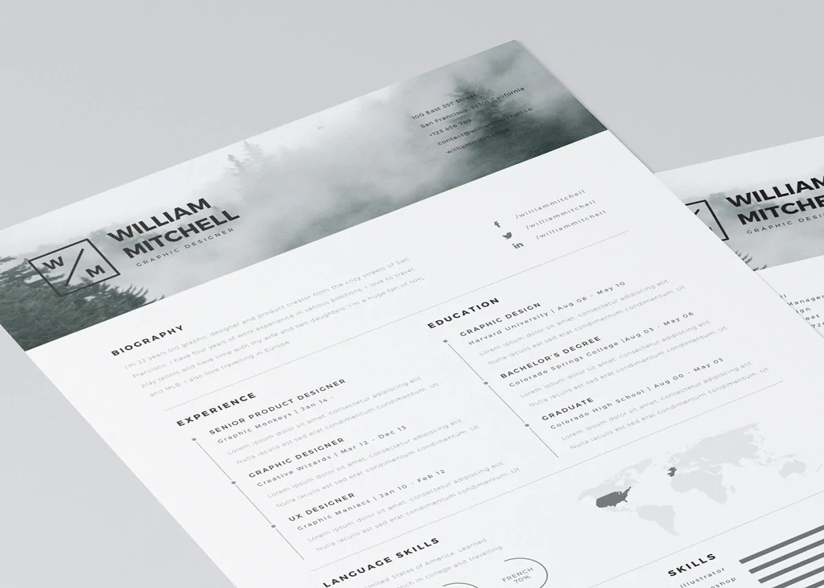 Free Minimalistic And Clean Resume Template CreativeBooster