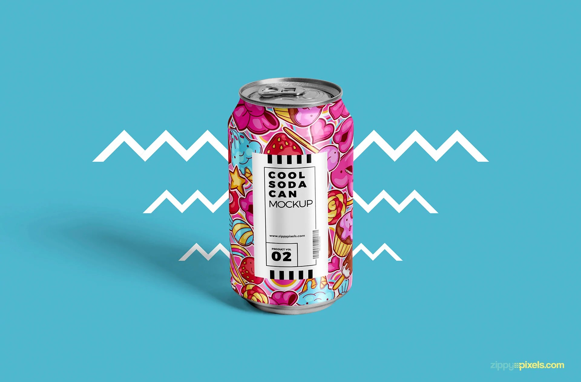 Free Tin Soda Can Mockup CreativeBooster