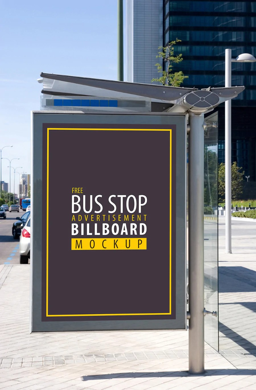 Free Bus Stop Advertisement Sign Mockup CreativeBooster
