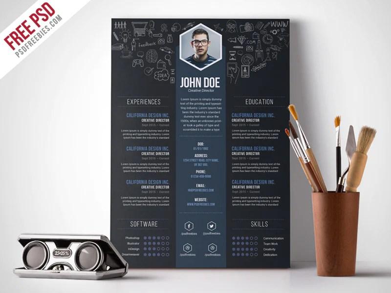 Free Creative Designer CV Resume Template Photoshop PSD
