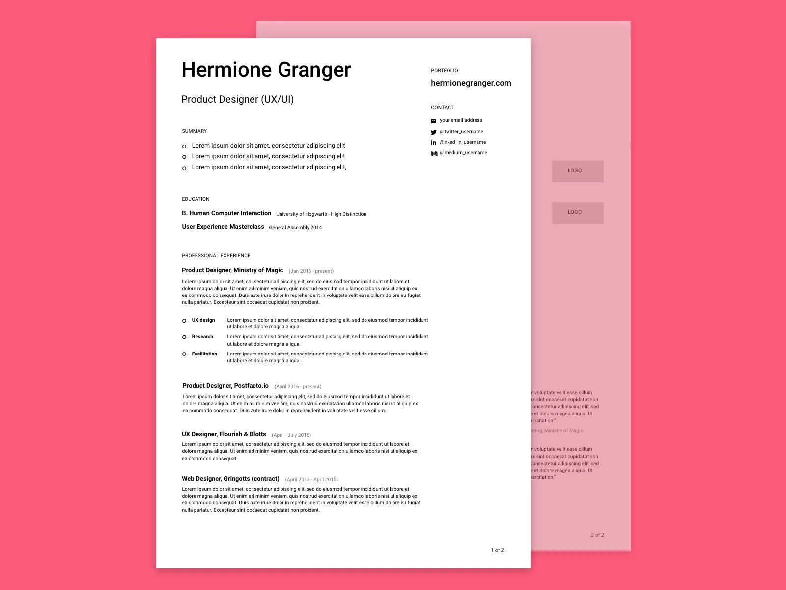 Condensed Resume Template Free Minimalist Design Resume Cv Template In Sketch Format