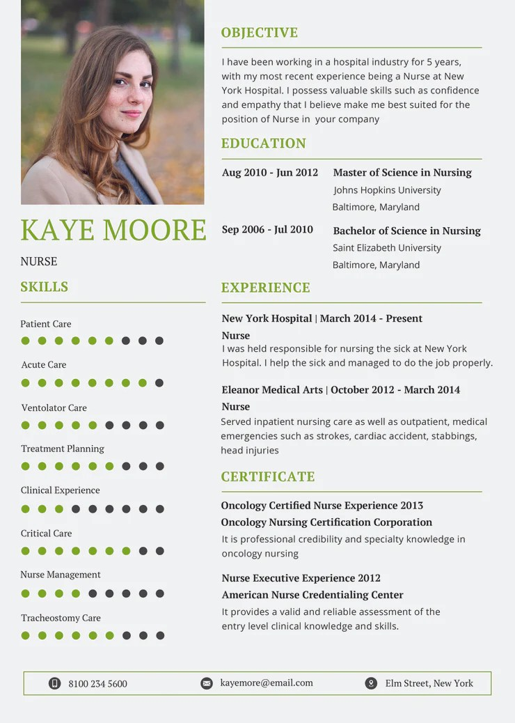 Free Nursing Resume CV Template in Photoshop PSD