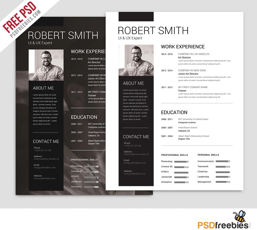 Free Resume Download Template Free Resume Templates In Photoshop Psd Format Creativebooster