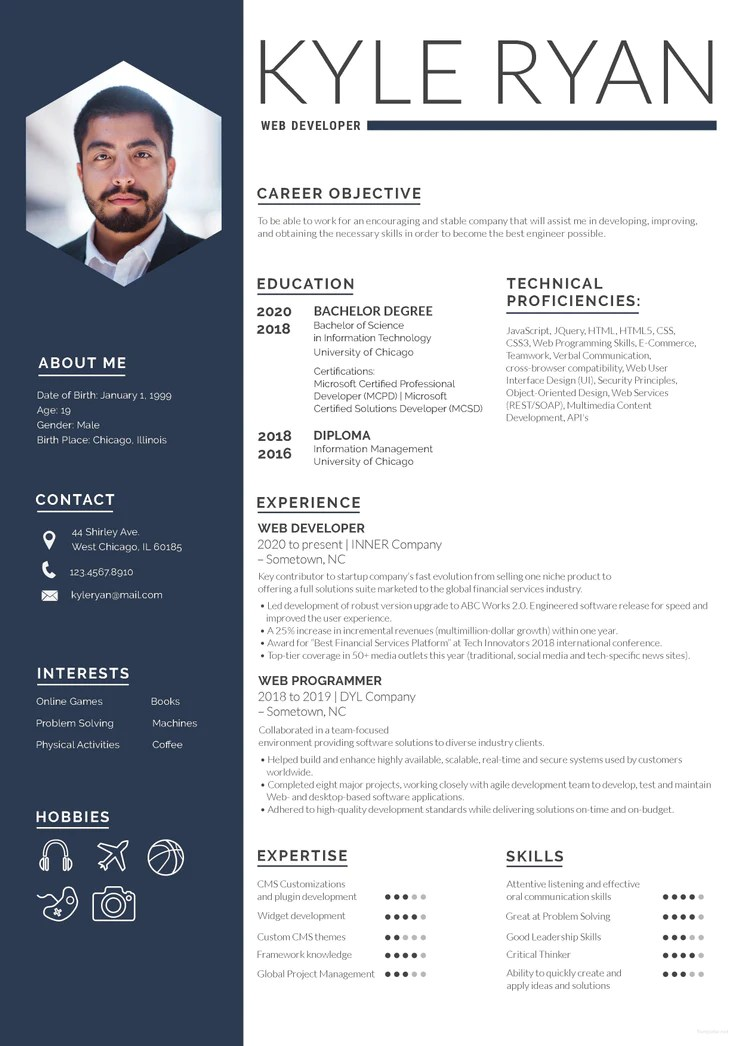 Free Web Developer Resume CV Template in Photoshop PSD Format  CreativeBooster