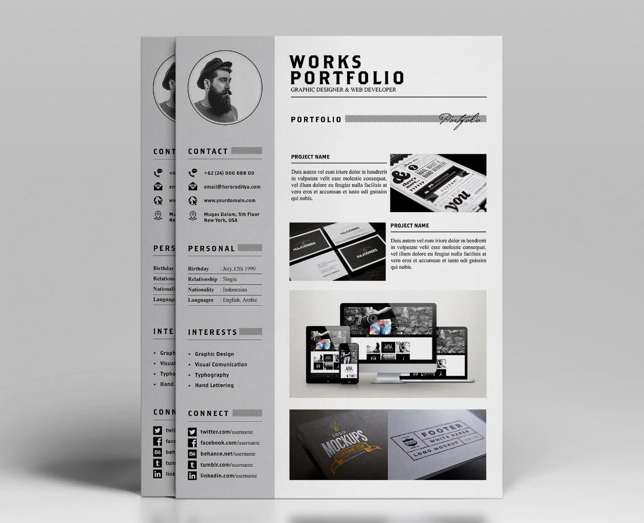 Free Resume CV and Portfolio Template in Photoshop PSD and Illustra  CreativeBooster