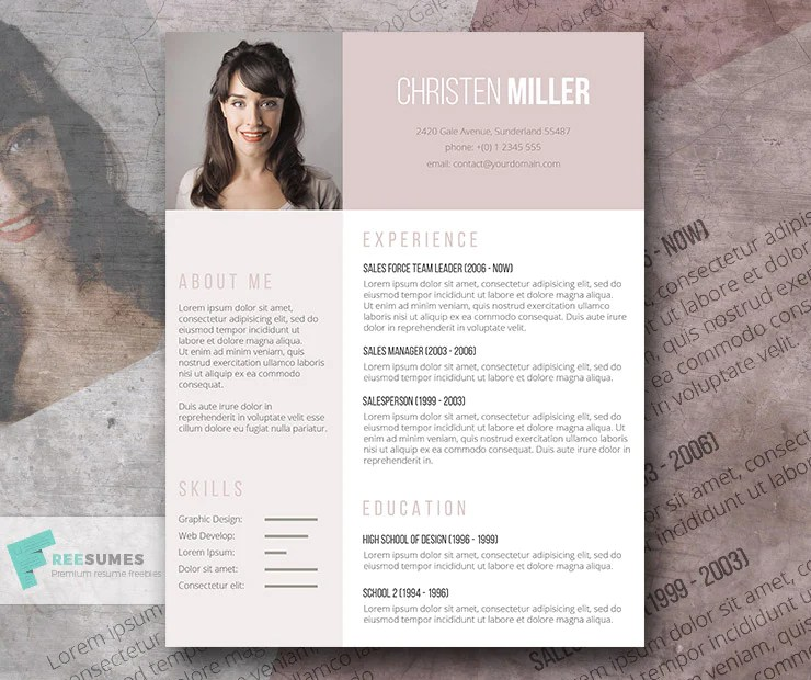 Today we bring you the simple and best resume templates for free download in year 2020. Free Creative Ladies Photo Cv Resume Template In Minimal Style In Micr Creativebooster