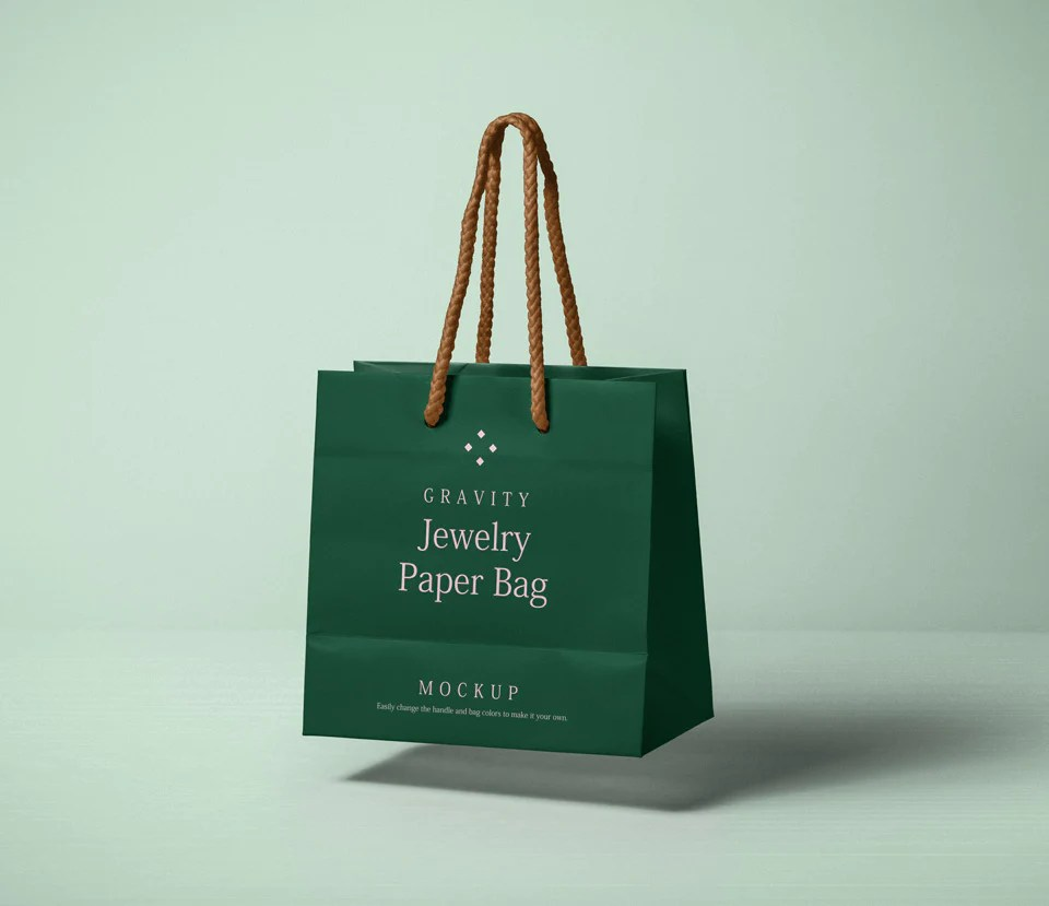 Free Paper Bag Mockup Floating In The Air CreativeBooster