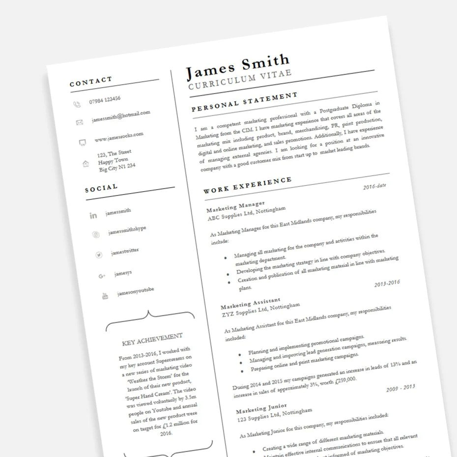 My Cv Resume Free Achiever Pofessional Cv Resume Template In Microsoft Word