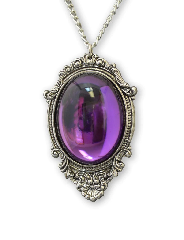 Vampire Jewelry : vampire, jewelry, Purple, Cabochon, Pewter, Frame, Pendant, Necklace, Vampire, Jewelry, NK-62, Metal