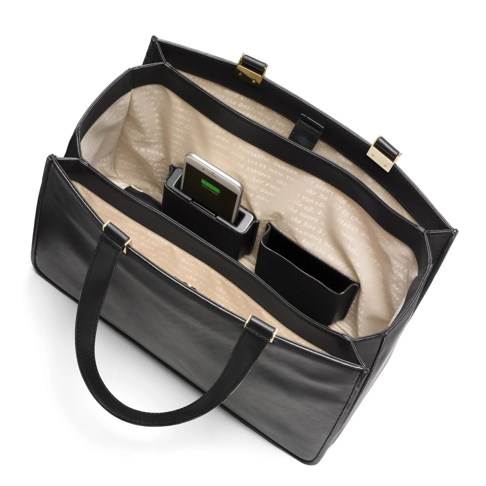 0489ba9a585d Frieda Handbag With Phone Charger Black Tote Everpurse