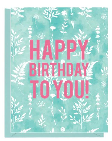 Blue Floral Watercolor Happy Birthday Card – Paper On Pine