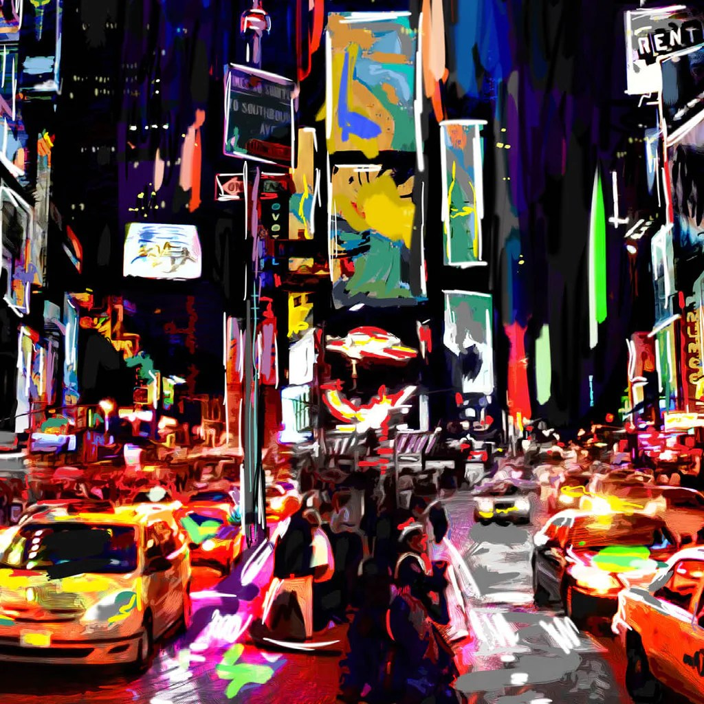 Times Square Art New York Painting Sparkartwork