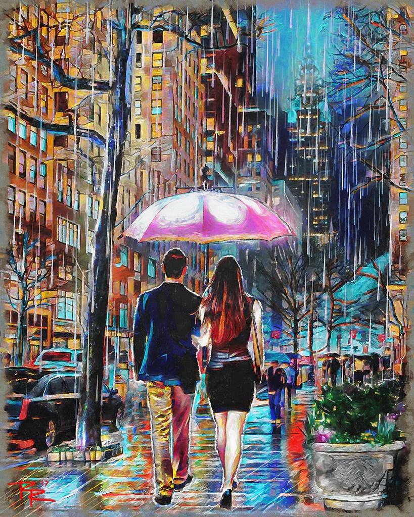 umbrella couple art rainy
