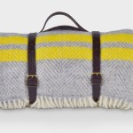 Grey And Yellow Luxury Picnic Rug With Straps The British Blanket Co The British Blanket Company