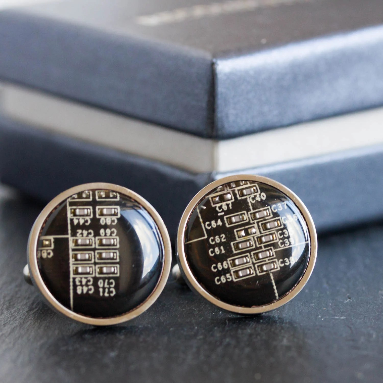 Silver Circuit Board Cufflinks Contemporary Cuflinks Computer