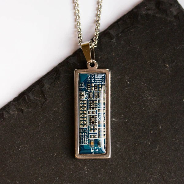 Necklace Orange Circuit Board Necklace Geeky Square Necklace