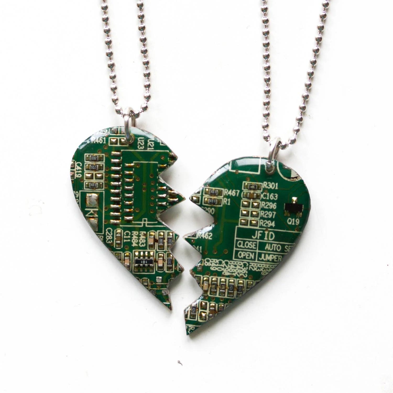 Friend Necklaces Split Heart Of Circuit Board