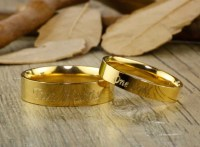 Handmade Gold Dome Plain Matching Wedding Bands, Couple ...