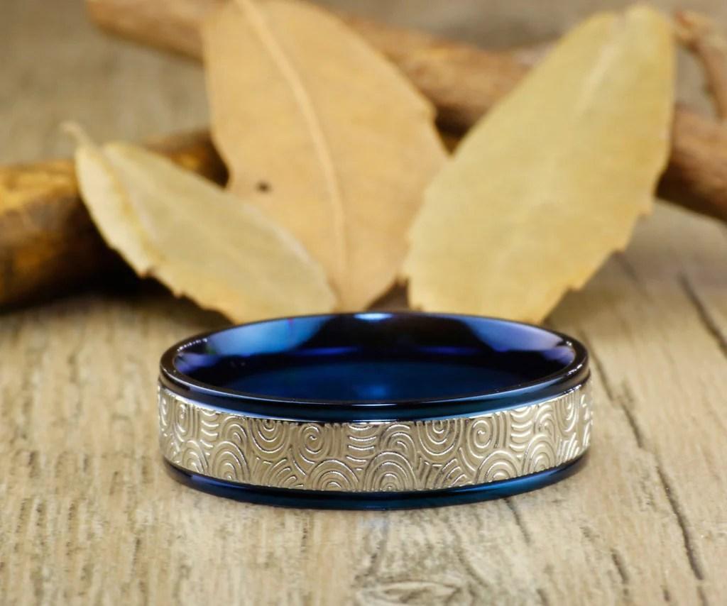 Unique Blue Wedding Bands Couple Rings Set Titanium