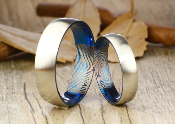 Your Actual Finger Print Rings Set Handmade Blue Matte