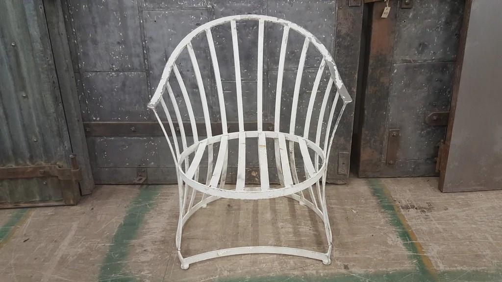 mid century modern white metal patio chair