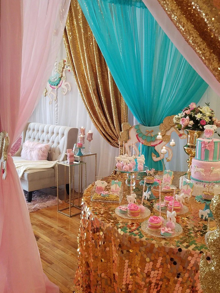Gold Glitter Carousel Horse Baby Shower Theme The Iced
