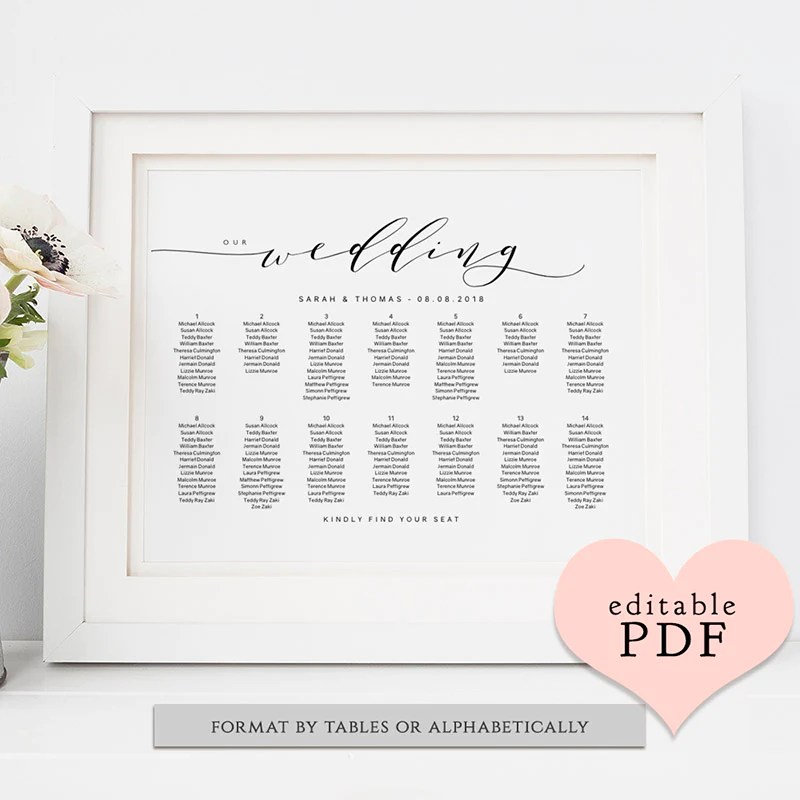 Diy wedding table seating chart printable also plan template sweet bomb style connie  joan rh connieandjoan